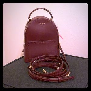 NWT Kate Spade Mini convertible maroon Backpack